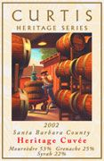Curtis Heritage Cuvee 2002 Front Label