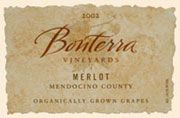 Bonterra Organically Grown Merlot 2002 Front Label