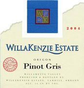 WillaKenzie Estate Pinot Gris Cork-Free 2004 Front Label