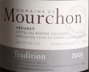 Domaine de Mourchon Cotes du Rhone Villages Seguret Tradition 2003 Front Label