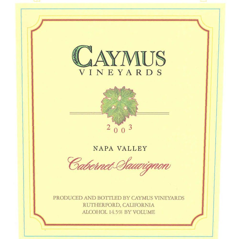 Caymus Napa Valley Cabernet Sauvignon 2003 Front Label