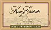 King Estate Pinot Gris (375ML half-bottle) 2004 Front Label