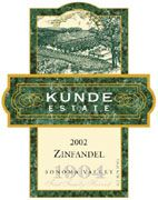 Kunde Estate Zinfandel 2002 Front Label