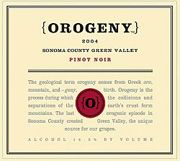 Orogeny Vineyards Pinot Noir Green Valley 2004 Front Label