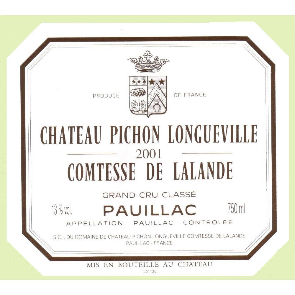 Chateau Pichon Longueville Comtesse de Lalande (slightly torn labels) 2001 Front Label