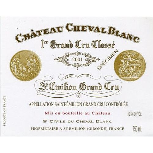 Chateau Cheval Blanc  2001 Front Label