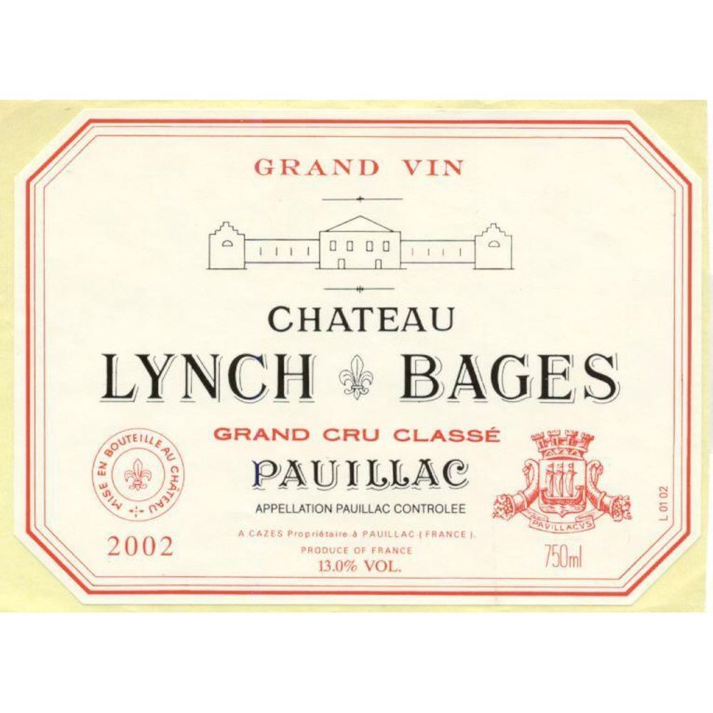 Chateau Lynch-Bages (stained labels) 2002 Front Label