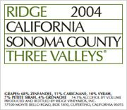 Ridge Three Valleys Red 2004 Front Label