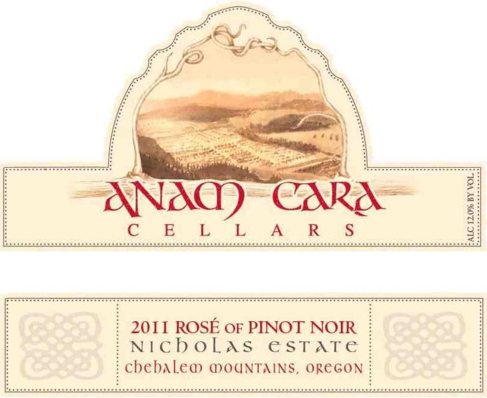 Anam Cara  Nicholas Estate Rose of Pinot Noir 2011 Front Label