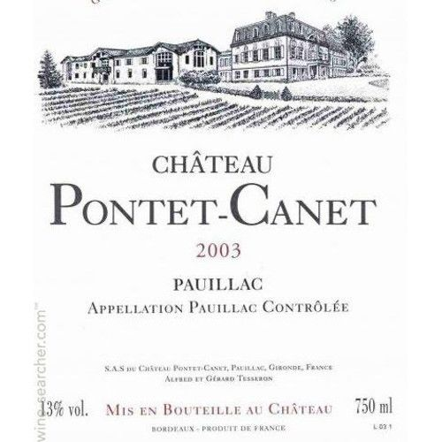 Chateau Pontet-Canet (scuffed labels) 2003 Front Label