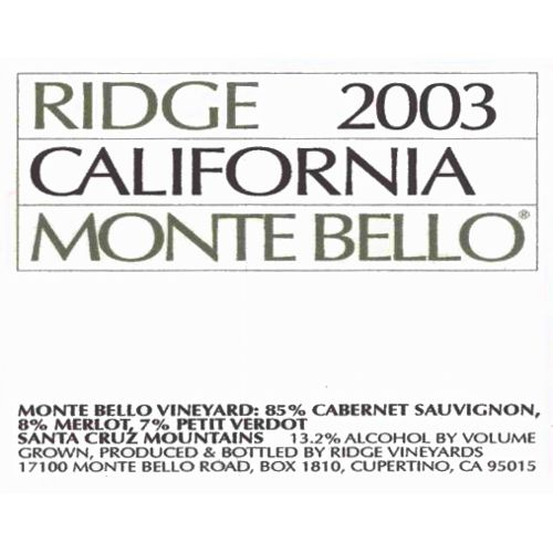 Ridge Monte Bello (1.5 Liter Magnum) 2003 Front Label