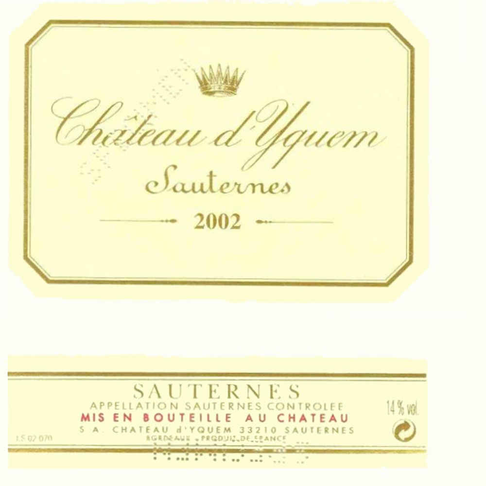 Chateau d'Yquem Sauternes (375ML half-bottle) 2002 Front Label