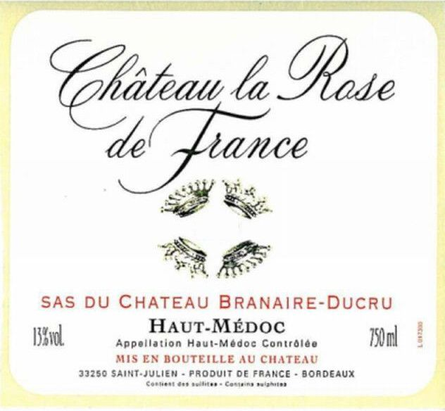 Chateau Branaire-Ducru Chateau La Rose de France 2001 Front Label