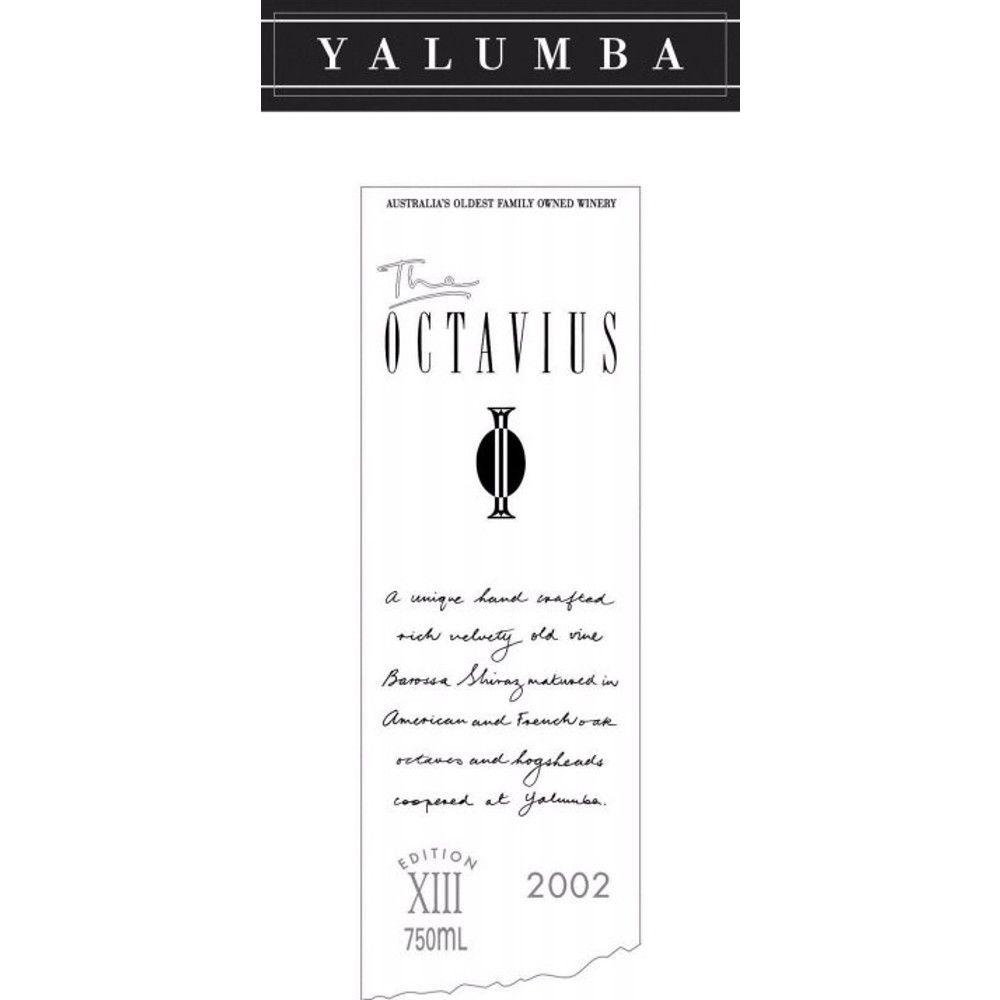 Yalumba The Octavius Old Vine Shiraz 2002 Front Label