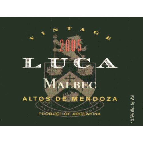 Luca Malbec 2005 Front Label