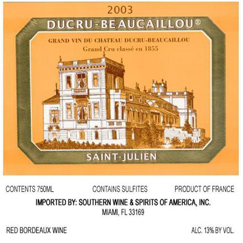 Chateau Ducru-Beaucaillou  2003 Front Label