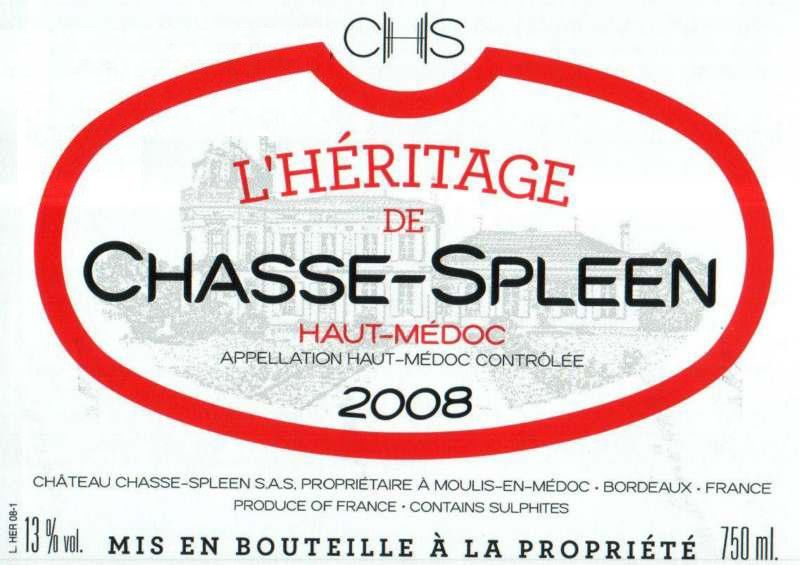 Chateau Chasse Spleen L'Heritage de Chasse-Spleen 2008 Front Label