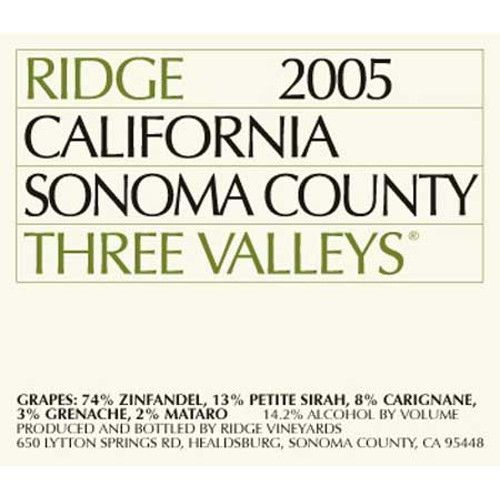 Ridge Three Valleys Red 2005 Front Label