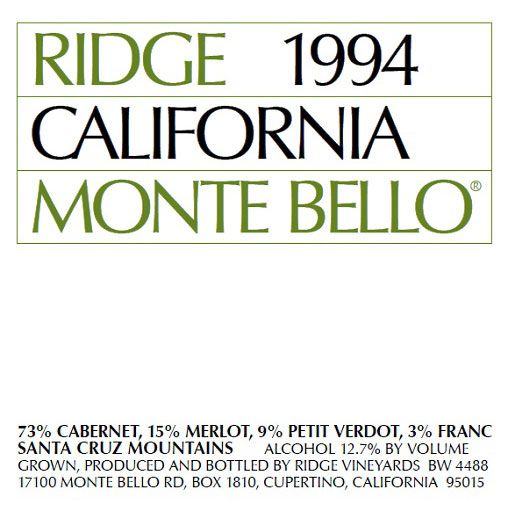 Ridge Monte Bello 1994 Front Label