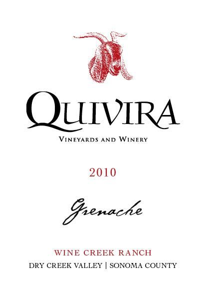 Quivira Wine Creek Ranch Grenache 2010  Front Label