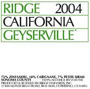 Ridge Geyserville (375ML half-bottle) 2004 Front Label