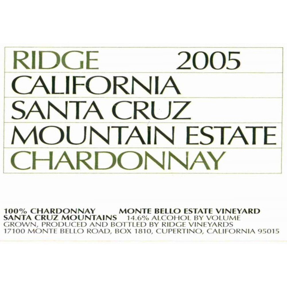 Ridge Santa Cruz Chardonnay 2005 Front Label