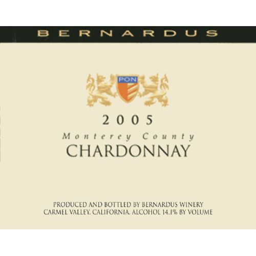 Bernardus Monterey County Chardonnay (375ML half-bottle) 2005 Front Label