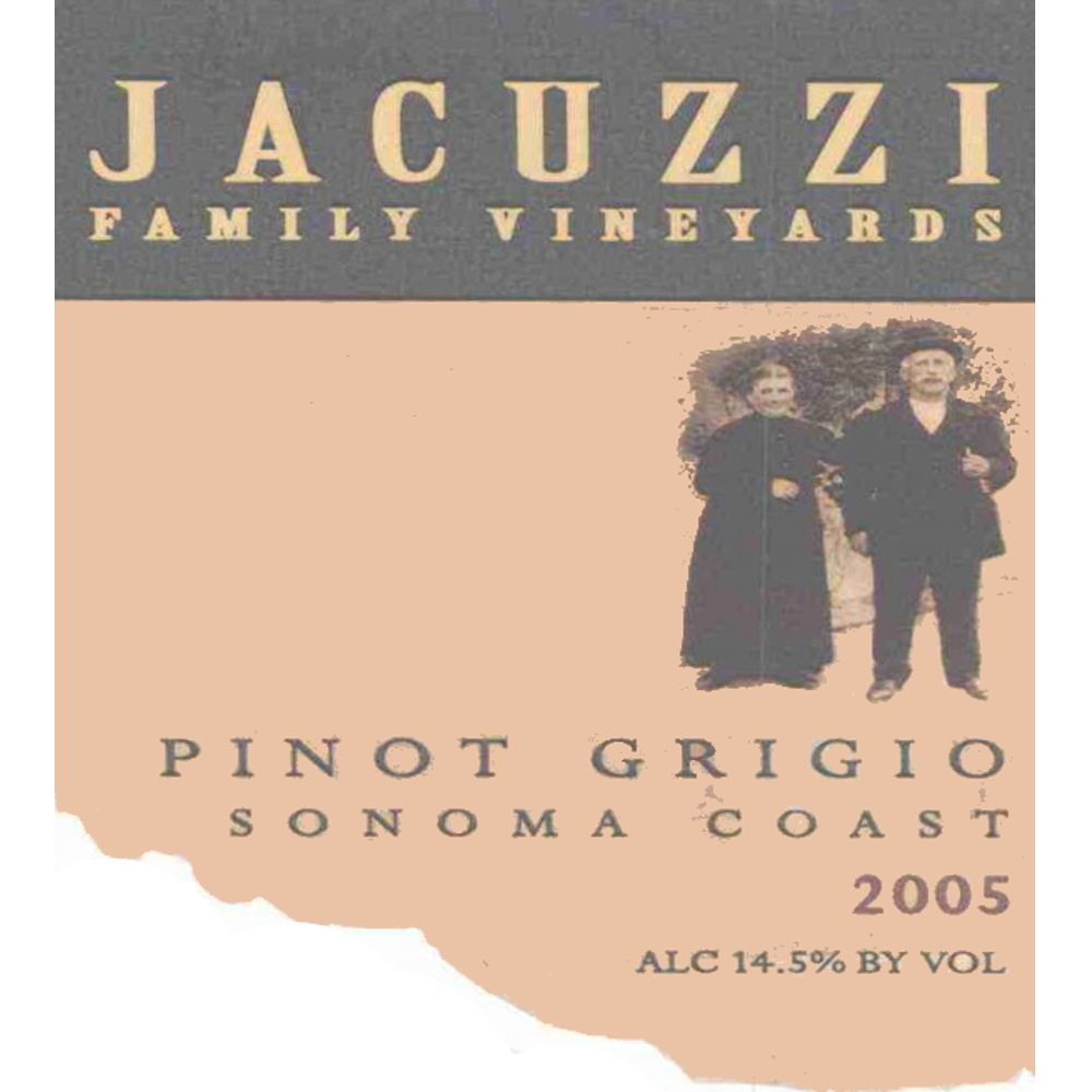Jacuzzi Pinot Grigio 2005 Front Label