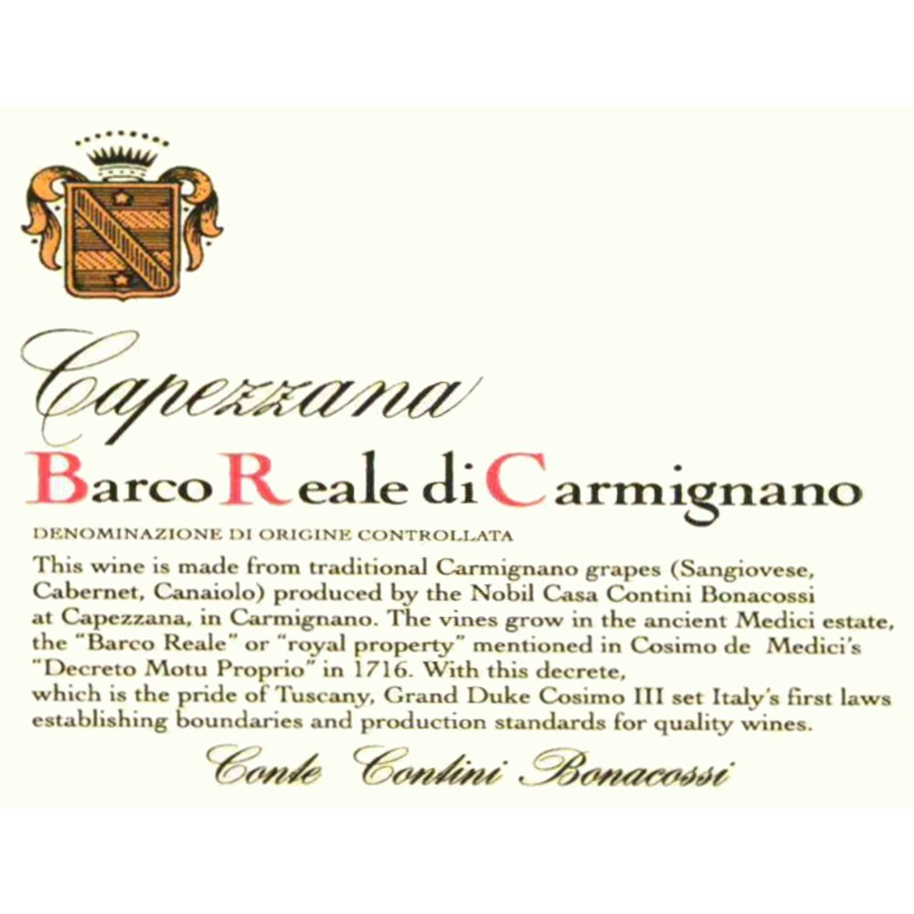 Capezzana Barco Reale 2005 Front Label