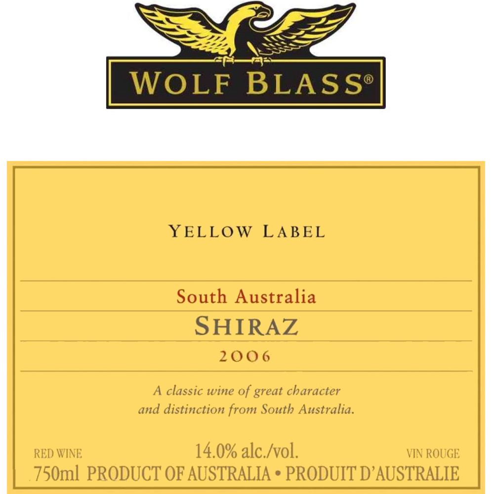 Wolf Blass Yellow Label Shiraz/Cabernet 2006 Front Label