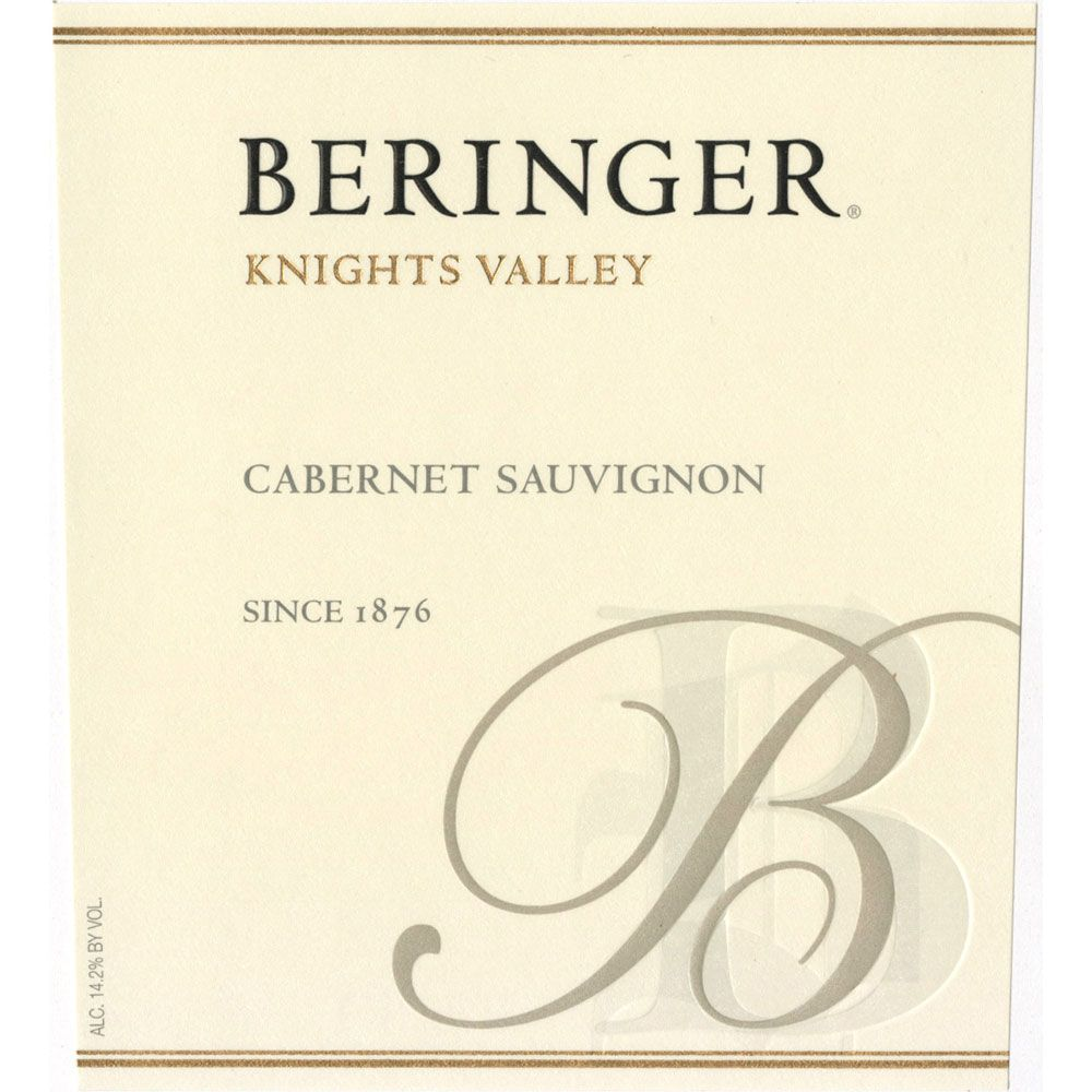 Beringer Knights Valley Cabernet Sauvignon 1993 Front Label