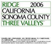 Ridge Three Valleys Red 2006 Front Label