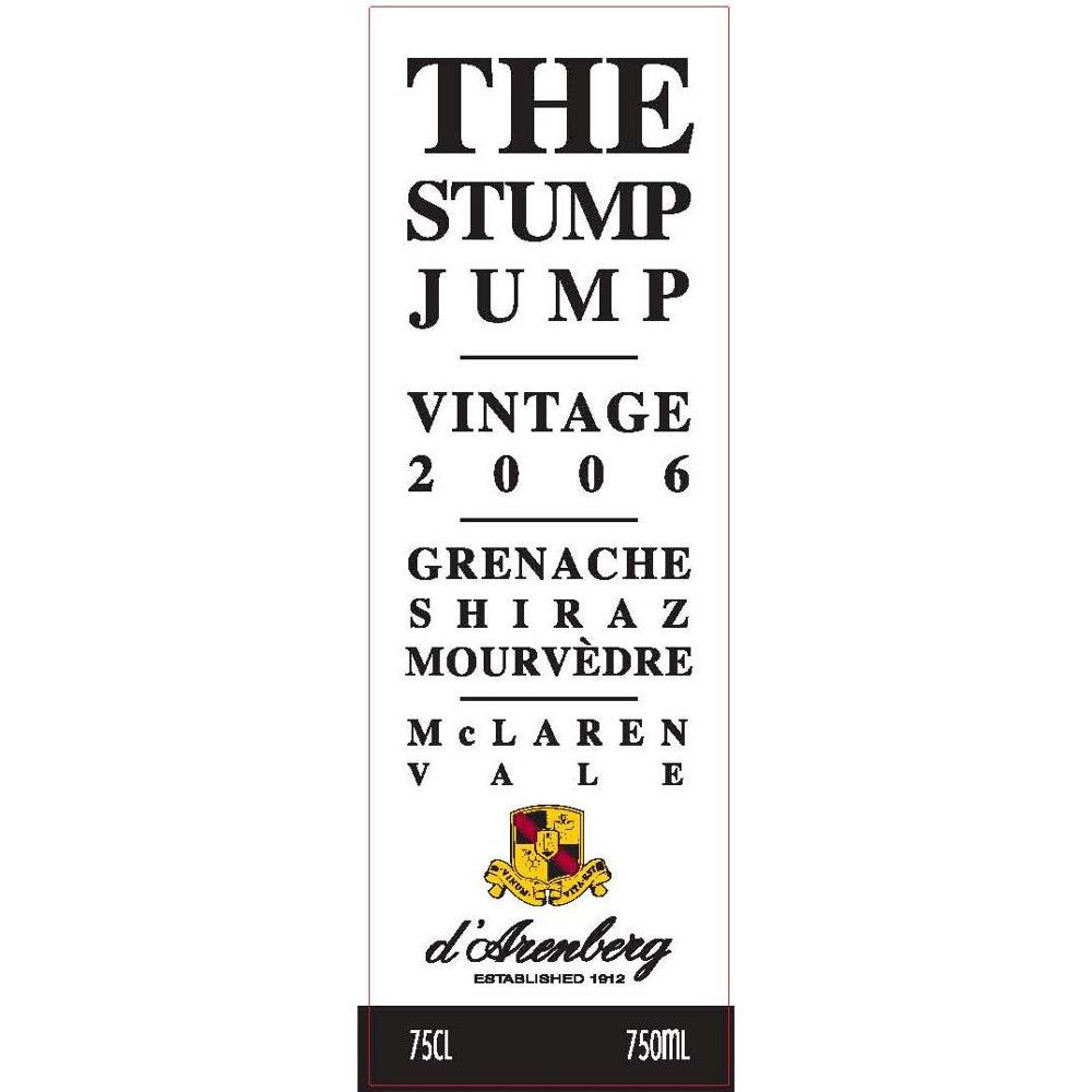 d'Arenberg The Stump Jump Red 2006 Front Label