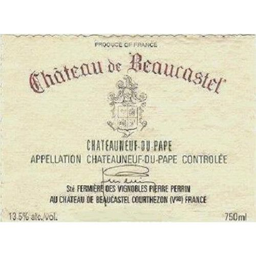 Chateau de Beaucastel Chateauneuf-du-Pape (stained label) 2005 Front Label