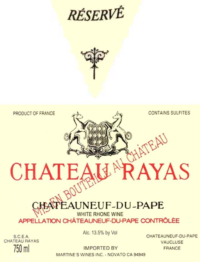 Chateau Rayas Chateauneuf-du-Pape Reserve Blanc 2005 Front Label