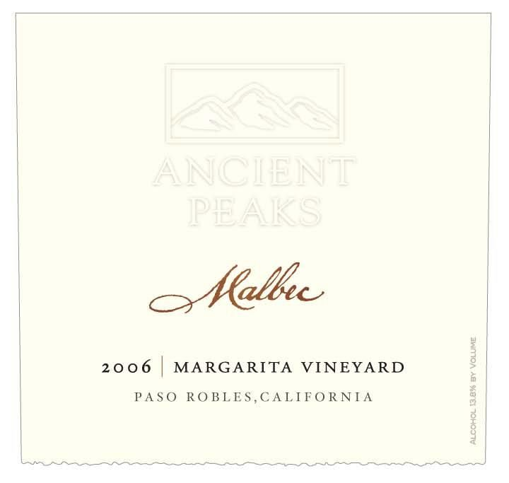 Ancient Peaks Margarita Vineyard Malbec 2006 Front Label