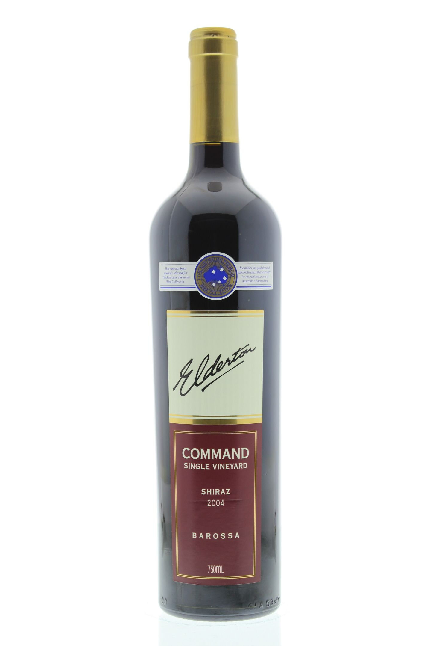 Elderton Command Shiraz 2004 Front Bottle Shot