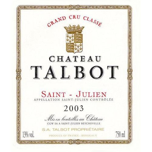 Chateau Talbot  2003 Front Label