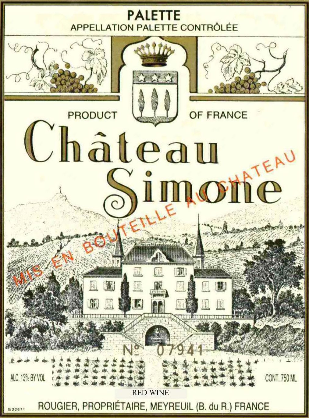 Chateau Simone Rouge 2010 Front Label
