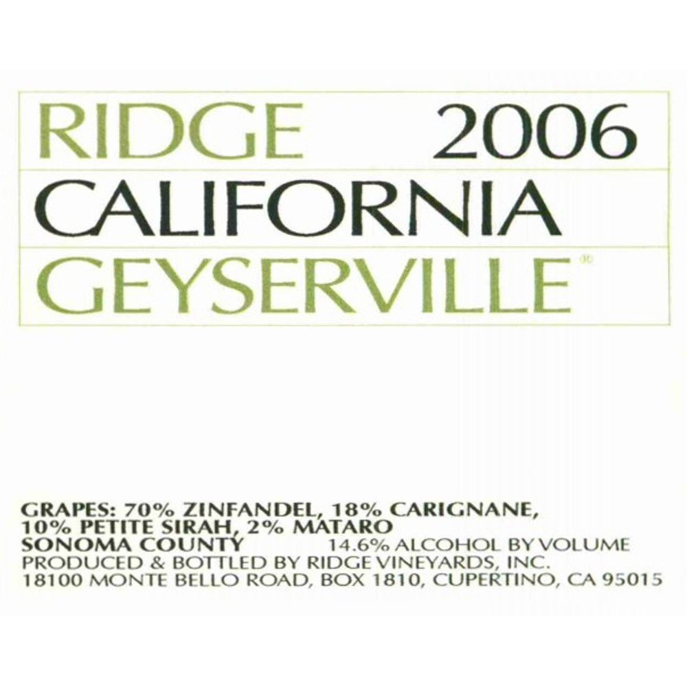 Ridge Geyserville 2006 Front Label