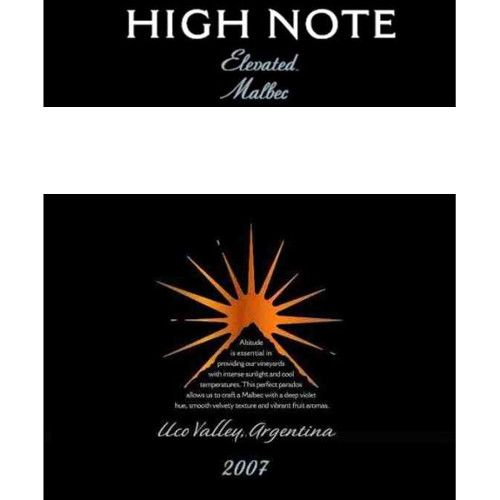 High Note Elevated Malbec 2007 Front Label