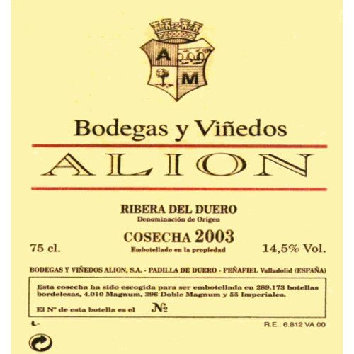 Bodegas y Vinedos Alion  2003 Front Label