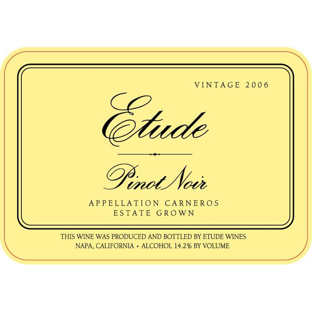 Etude Carneros Estate Pinot Noir 2006 Front Label