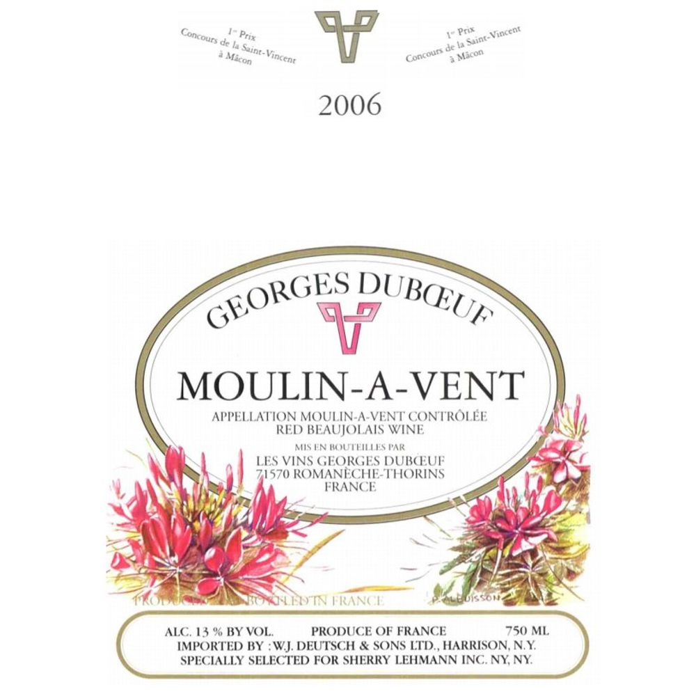 Duboeuf Moulin-a-Vent 2006 Front Label