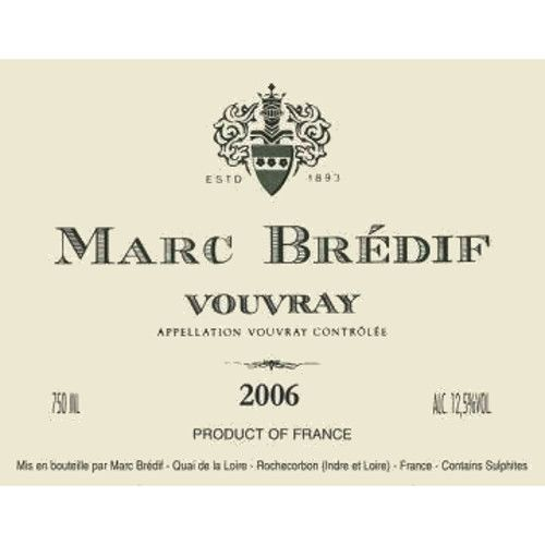 Marc Bredif Vouvray 2006 Front Label