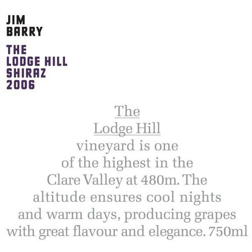 Jim Barry Lodge Hill Shiraz 2006 Front Label