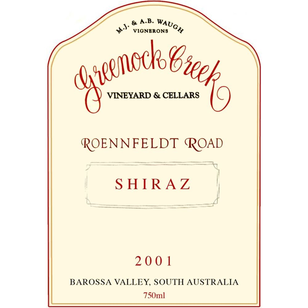 Greenock Creek Roennfeldt Road Shiraz 2001 Front Label