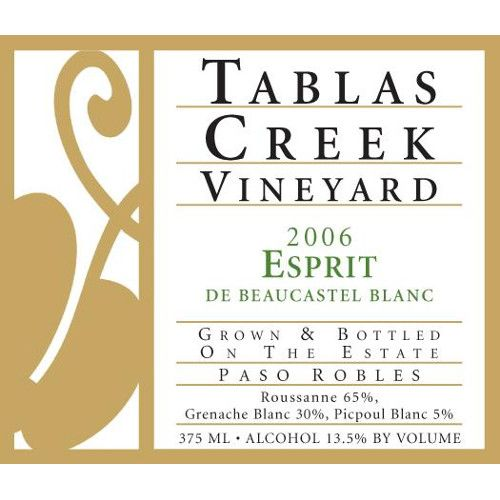 Tablas Creek Esprit de Beaucastel Blanc 2006 Front Label
