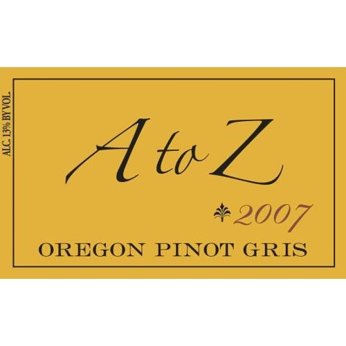 A to Z Pinot Gris 2007 Front Label