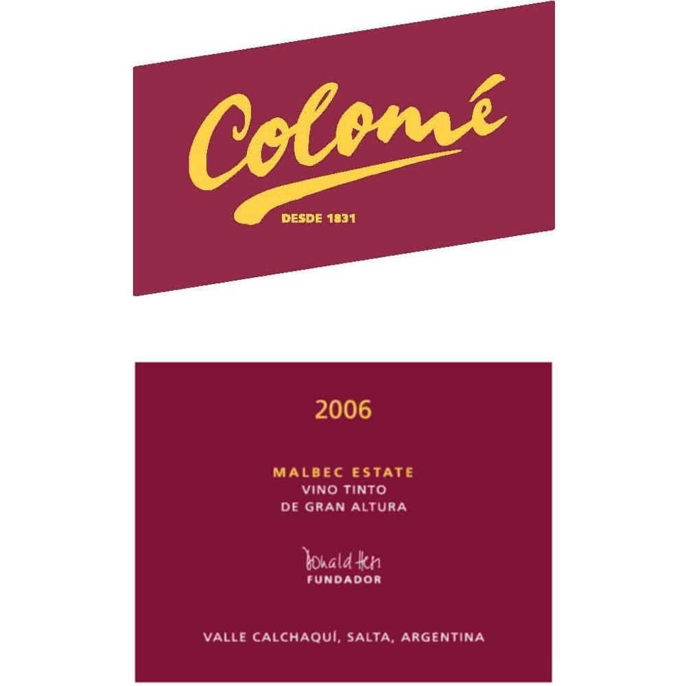 Bodega Colome Estate Malbec 2006 Front Label
